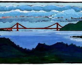Golden Gate Bridge Bay Area Blue Digital Giclée Wall Art Print
