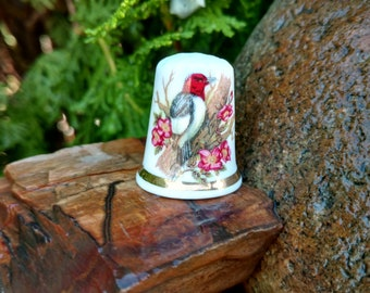 Finsbury Porcelain Thimble, Vintage, Fine Bone China, England, Red-headed Woodpecker Bird Flowers, Sewing Seamstress, Collector Collectable