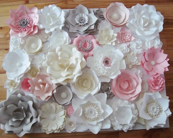 Set of 42 Paper flowers - Paper flower wall | Paper Flower Backdrop | Paper Flowers for Nursery | Paper Flower Wedding | Paper Flowers