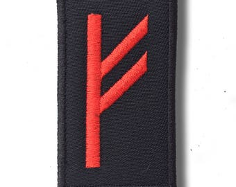 Fehu rune black/red - embroidered patch, 5x8 cm