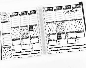 Salt & Pepper Planner Stickers Weekly Kit - For use with Erin Condren Vertical Lifeplanner // 24