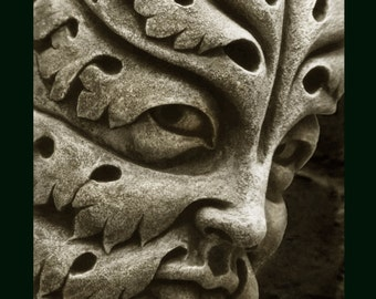 Bamberg Green Man, cast stone leaf face, greenman, Garden ornament, Renaissance element, medieval sculpture, Carved gothic corbel, Chalifour