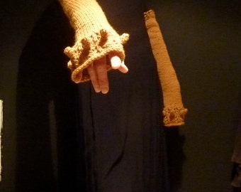 Damselflower Gauntlets, hand knitted wool mix yarn with bobbles and lacework fingerless gloves, arm warmers, choose your color