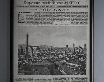 Vintage Italian Newspaper Reproduction: Unframed Le Cento Citta D'Italia, Bologna, Italy - from September 25th, 1887
