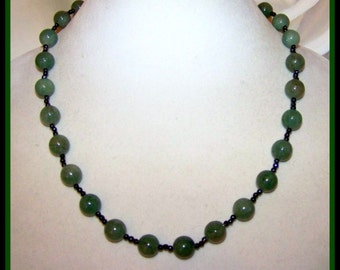 Long Green Aventurine & Black Crystal Necklace - Sterling Silver Clasp - OOAK Heart Chakra Stone Necklace - Virgo and Libra Necklace