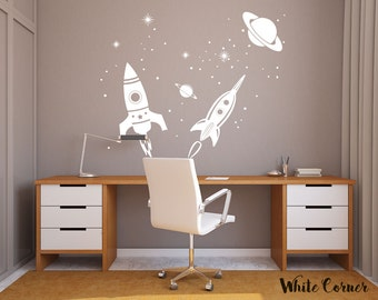 rta1580 Rockets Planets Stars Boys Universe Space  Work Place Kids Nursery Children Wall Decal Vinyl  Decor Sticker Bedroom Kid's room