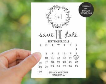 Save the Date Template Printable, Rustic Classic Wreath Save the Date Card, Rustic Save the Date Card, Editable text, wedding stationary
