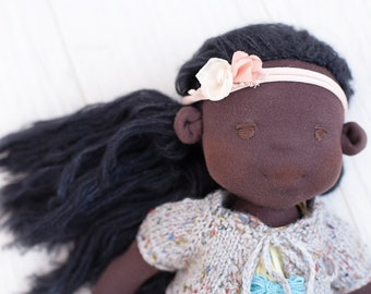 Black doll Waldorf girl doll African american rag doll Steiner soft toy Christmas Birthday gift for daughter Textile cloth doll Afro doll