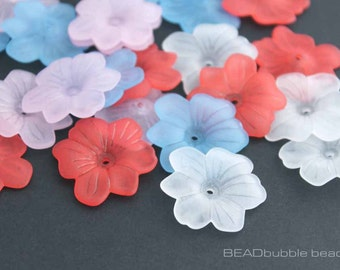 Large Flower Lucite Acrylic Plastic Beads Caps, 30mm, Pack of 15 Mixed Colours, Red, White, Blue, Pink, Beads for Jewelry Making (ACR110)