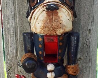Whimsical Folk Art Boston Terrier Gingerbread Christmas Nutcracker Nutcracker