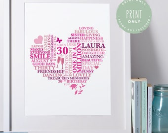 Personalised 30th Birthday Gift for Women | Thirty Birthday Print | Heart | Word Art Gift | 30th Birthday Gift for Her