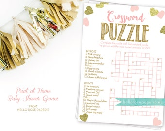 Baby Shower Crossword Puzzle Game . Pink and Gold . Printable Instant Digital Download . Baby Shower Games Girl . Printable Crossword Baby