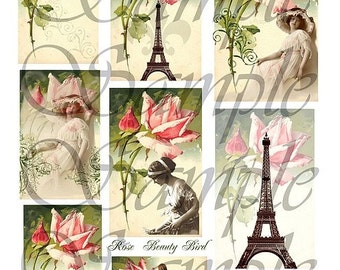 TiffanyJane Rose Beauty Collage Sheet Instant download for art tags paris rose eiffel tower embellishments paper art