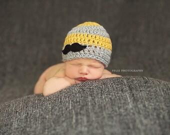 Baby boy hat, mustache hat, little man hat, newborn boy hat, newborn photo prop, mustache outfit, little man outfit, coming home outfit