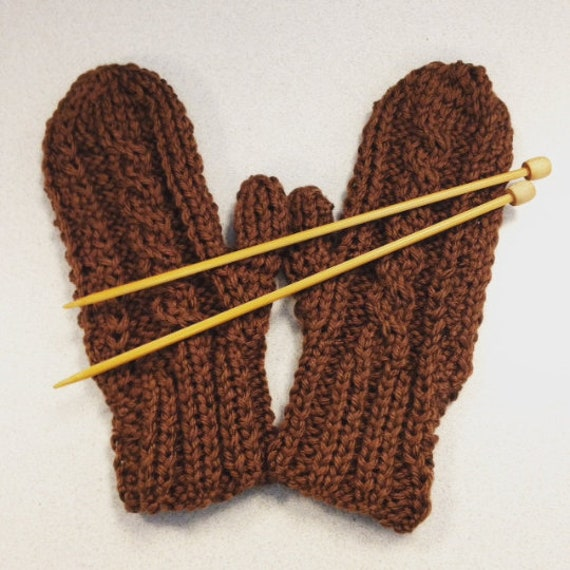 Cabled Mittens on Straight Needles - Knitting PATTERN