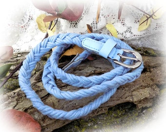Blue belt - Narrow blue Belt - Skinny blue Belt - Thin blue Belt  -blue cotton belt - blue Braided belt -waist up to 38 inches  # B 79
