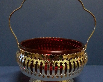 Vintage Brama English Red Glass and Chromed Steel Sugar Bowl