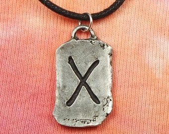 "Gebo Rune Necklace, Runic Elder Futhark Runes Jewelry, 100% Lead-Free Pewter, Pick 16 to 26""  black cotton cord or 2mm silver snake chain"