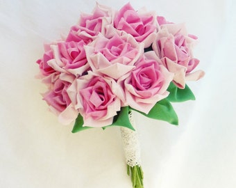 Fabric Flower Bouquet Roses or vase arrangment True LOVE roses  - Ribbon Flower tutorial PDF - No Sew at All - Instant DOWNLOAD