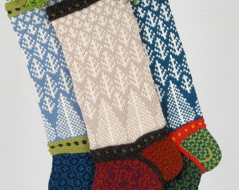 Hand-knit Christmas Stocking, Forest