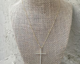 Large gold filled cross necklace