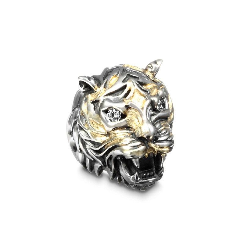 deific lucien tiger gem 18k gold infused sterling silver ring