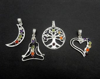 Chakra Pendant - Silver Plated Pendant with Gemstone Accents - Choose a Buddha, Heart, Moon, or Tree of Life (S69B16) (S66B14)