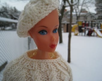 Barbie Knitting Pattern Chunky Cable Knit Sweater and Matching Beret