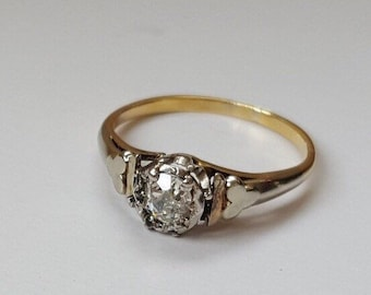 Old-Cut Cushion-Shape Diamond Single Stone Ring 0.30ct