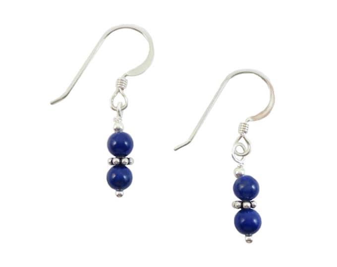 4 mm Stacked Lapis Lazuli Bead Earrings