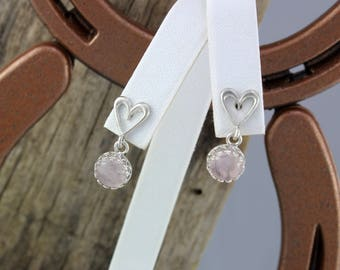 Sterling Silver Dangle Earrings - Pink Rose Quartz Dangle Earrings - 8mm Rose Quartz Stones on Sterling Silver Heart Shaped Posts