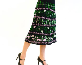 Embroidered skirt Egwene in A shape, green, pink, single piece
