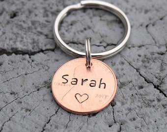 Personalized lucky penny keychain with name.
