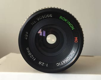 Rokinon MC Automatic 28mm lens for Canon FD Mount