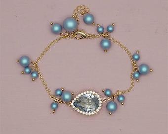 Blue Bridesmaid Bracelet, Blue Wedding Bracelet, Swarovski Bridesmaid Jewelry, Gold Bridesmaid Gifts, Gift for Brides, Jewelry for bride