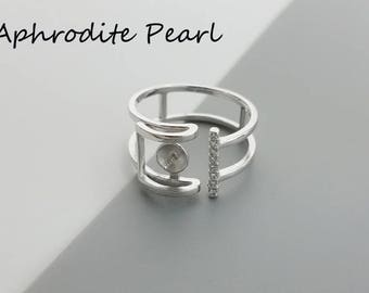 zircon sterling silver ring setting, adjustable double ring mounting, heart and arrow zircon, Jewelry DIY, gift DIY