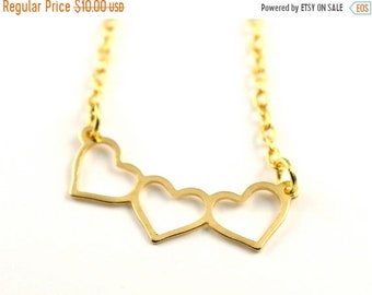 20%OFF SALE SALE-Triple Heart Necklace, Valentines Day Gift-Was 14 Now 10