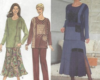 90s Womens Lagenlook Tunic, Skirt and Pants Artworks Tunic Color Block Simplicity Sewing Pattern 8246 Size 12 14 16 Bust 34 36 38 UnCut
