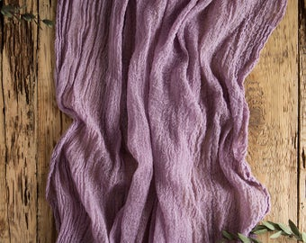 Amethyst Gauze Runner for Weddings Events, Centerpieces Runner, Cheese cloth Runner, Table Hand Dyed runner, Cotton Scrim, Cheesecloth