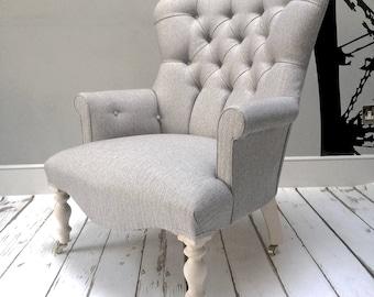 Poirot Grey Herringbone Armchair