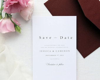 Joelle Save the Date Cards, Burgundy Envelopes, Elegant Save the Date, All Matching Stationery Available
