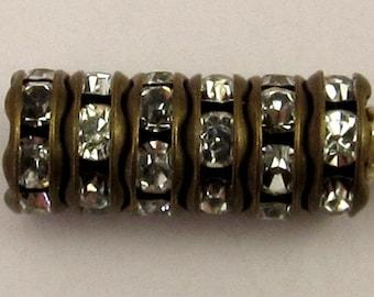 Bead, Rhinestone Rondelle Spacer Antique Brass, Crystal 6 mm 6 Pc. C221