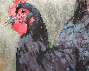 Chicken Head #6 - original painting by Andrew Daniel