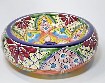 "15"" DONUT TALAVERA SINK round top counter vessel ceramic doughnut mexican bath"