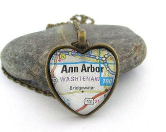 Ann Arbor Michigan Map Necklace,  Heart Shaped Pendant with Chain, Michigan Jewelry, Silver or Bronzed