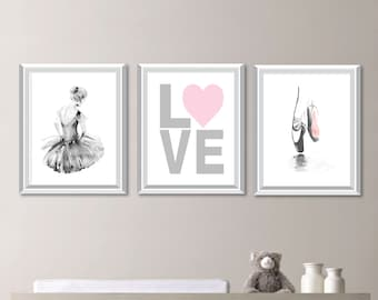 Baby Girl Nursery Art. Girl Nursery Decor.  Ballerina Nursery Art. Ballerina Bedroom Art. Ballerina Print. Ballerina Bedroom Art (NS-716)