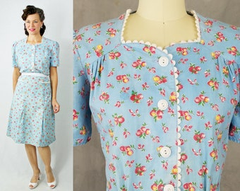 "1940s Dress / 40s Dress / Novelty Print / Apple Print Dress / Blue Cotton Day Dress / 40s 1940s Day Dress / B38"" W32"""