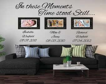 In These Moments Time Stood Still Vinyl Wall Decal Personalized With Names And Dates