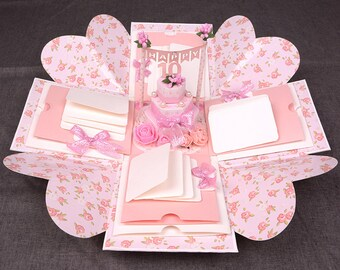 XWX-Pink explosion photo box, love photo box perfect for birthday/anniversary/wedding gift, surprise memory box, album box