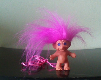Vintage Troll Doll Necklace, Pink Hair, Bright Blue Eyes, Funky Jewelry, Unnamed Made in Korea
